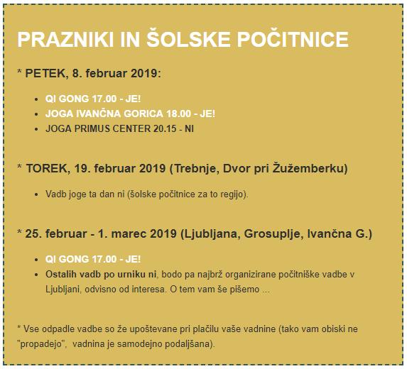 Počitniški / Praznični Urnik – Februar 2019